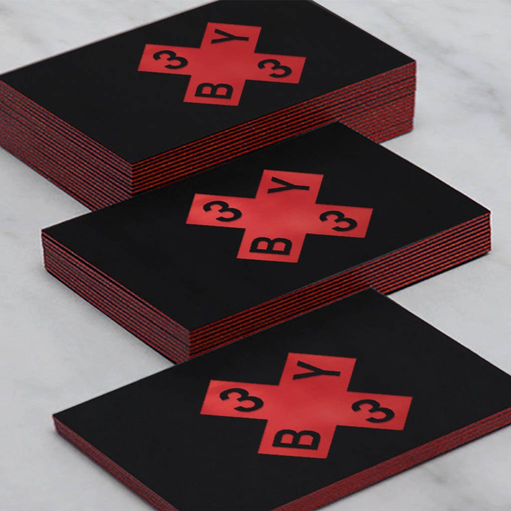 3x3 branding business cards, black with red foil edging