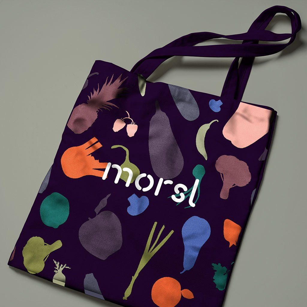 Morsl tote bag with fruit and vegetable pattern
