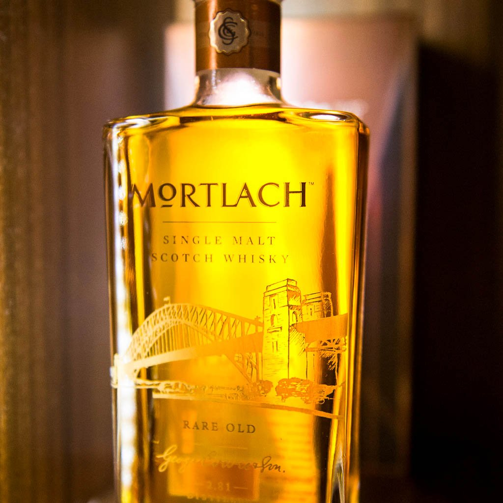 Limited edition Mortlach bottle with Sydney harbour bridge engraved