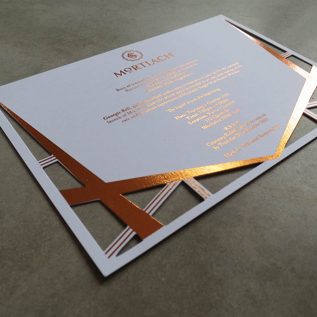 Die cut Mortlach invitation with copper foiling