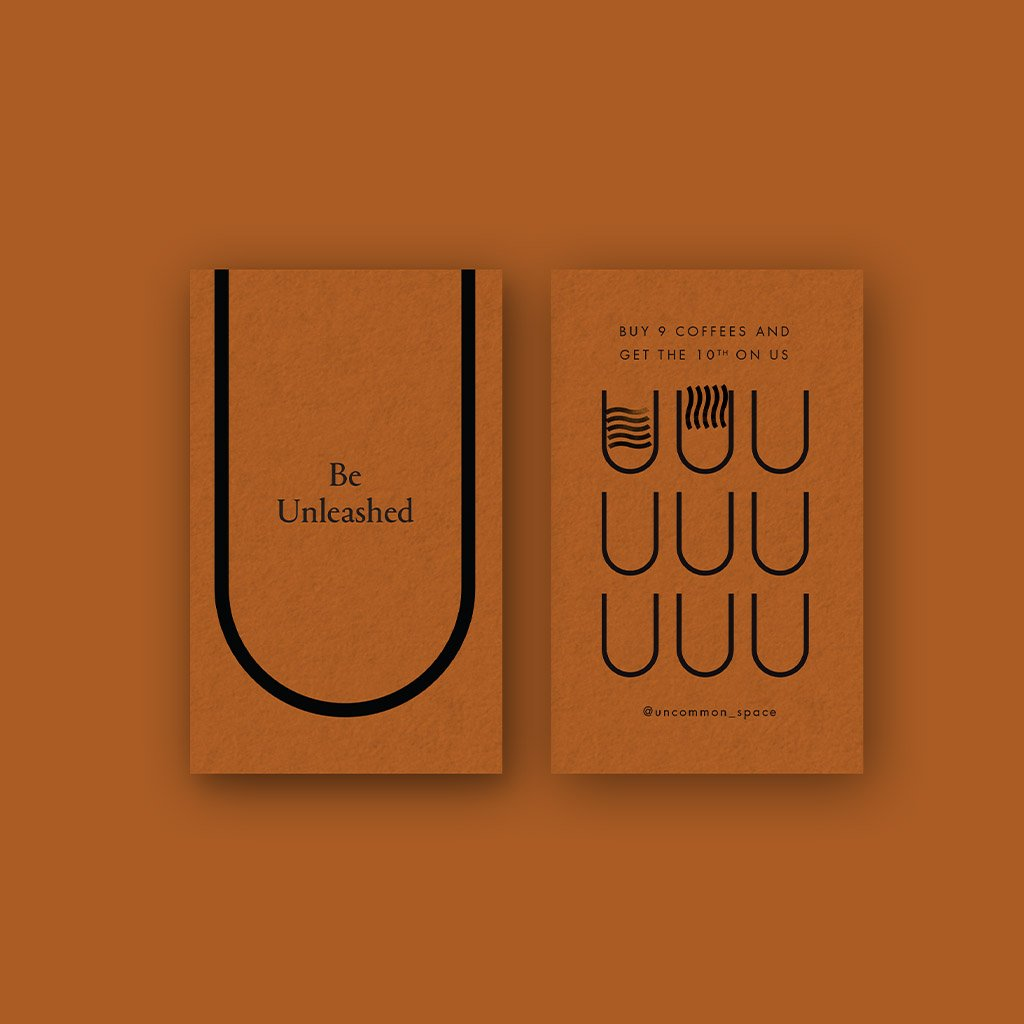 Uncommon branding, stamped coffee loyalty cards design